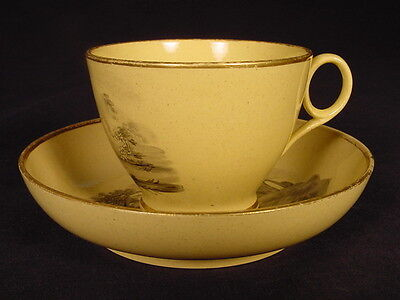 RARE EARLY 1800s TRANSFERWARE CUP & SAUCER YELLOW WARE MINT