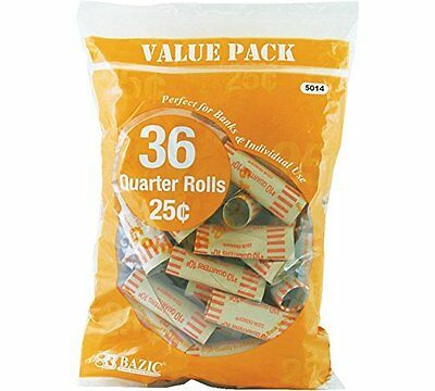 Quarter Coin Wrappers, 36 Per Pack - 2 Pack (72 Total)
