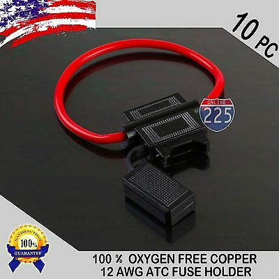 10PC Pack 12 Gauge ATC In-Line Blade Fuse Holder 100% OFC Copper Wire Protection
