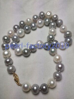 stunning AAA+9-10mm tahitian white grey color pearl necklace 20 inch 14K