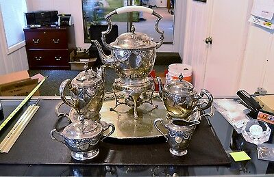 1800's Singer & Halbert 800 Silver 7 Piece Serving Set & Tray -Over 100 Ounces