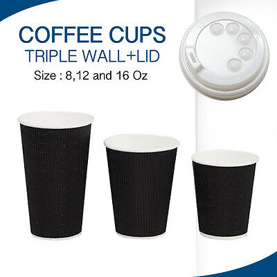 Coffee Cups Triple Wall Disposable Black 100,250,500 & 1000 CUPS + LIDS CHEAP