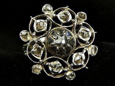 STUNNING ANTIQUE GEORGIAN ENGLISH SILVER ROSE-CUT DIAMOND FLOWER RING c1780