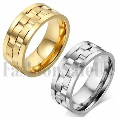 Men's Wide Gold Silver Tone Stainless Steel Rotatable Wedding Band Ring SZ 7-13
