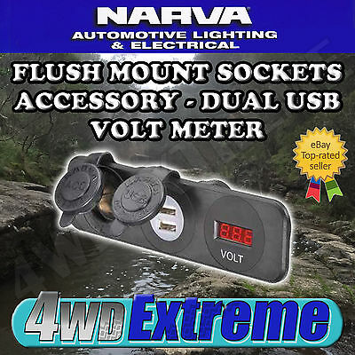 Narva Quality Led Volt Meter - Dual Usb - Accessory Socket Flush Mount 81181Bl