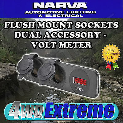 Narva Quality Led Volt Meter - Dual  Accessory Socket - Flush Mount  81180Bl