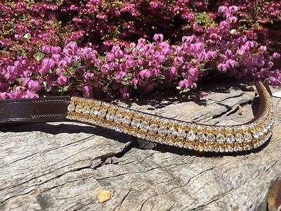 Browband Bling Gold and White Crystal Brow Band  Black or Brown Leather Options