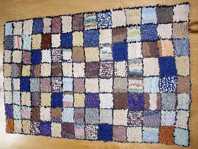 Antique Reversible Americana Handmade Rag Rug in a Checkered Pattern