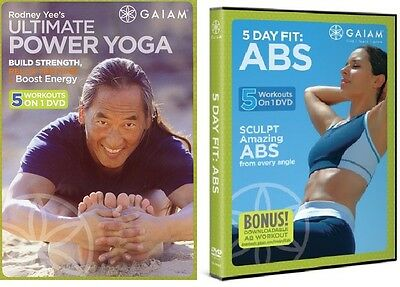 NEW 5 DAY FIT ABS + ULTIMATE POWER YOGA 10-ON-2 DVD+FREE Health Fitness Bonuses