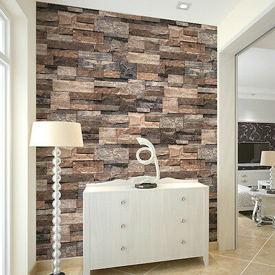 Vintage Faux Stone Wallpaper Roll Tan/Brown/Grey 3D Brick Stacked Photo Paper
