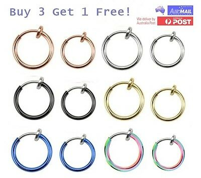 8mm 10mm Fake Spring Clip On Hoop Piercing Lip Nose Ear Cartilage Septum Rings