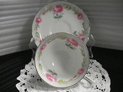 TEA CUP & SAUCER Tuscan Floral Made In England C3