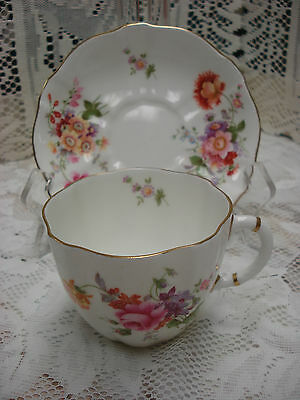 Royal Crown Derby POSIES 839892 Floral tea cup and saucer England TR2