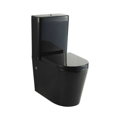 New Design Luxury Glossy Black 008 Round Wall Faced Toilet Suite, S Or P Trap