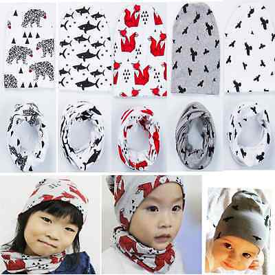 Baby Girls Toddler Boys Warm Hat Winter Beanie Hooded Scarf Earflap Knitted Cap