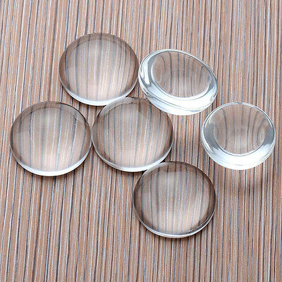 10Pc Transparent Clear Round Flat Back Clear Shape Domed Glass Cabochon 8mm-25mm