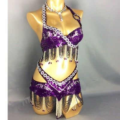Belly Dance Costume Outfit Set Bra Top Belt Hip Scarf Carnival Indian 2PCS
