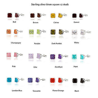 Sterling Silver 6mm Cubic Zirconia square stud earrings / Gift box