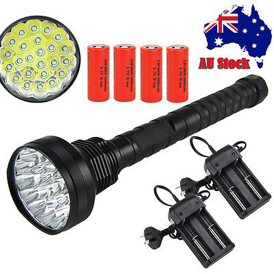 Tactical 32000LM 24x XML T6 LED Flashlight 5 Mode Torch Light 4*26650+AU Charger