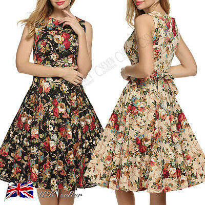 UK Womens Classic Floral Retro Vintage 1950s Style Rockabilly Party Swing Dress