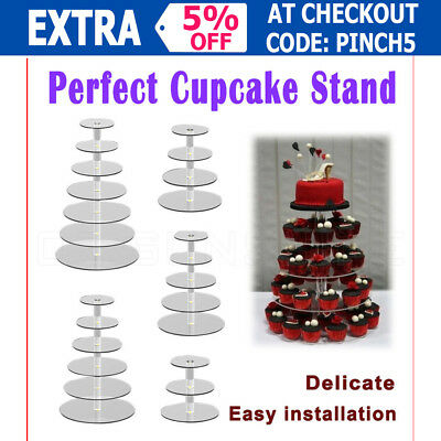 3/4/5/6/7/Tier Clear Acrylic Round Cupcake Cake Stand Birthday Wedding Party OZ