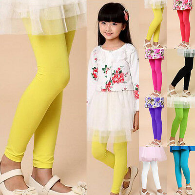 Plain Children Girls Stretch Leggings Full Length Summer Dancing Legging Thin