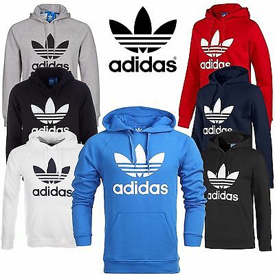 New Mens Adidas Original Trefoil Fleece Hoody Sweatshirt Hooded Pullover