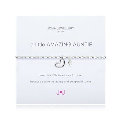 Joma Jewellery A Little Amazing Auntie Bracelet Silver Plated + Gift Bag & Tag