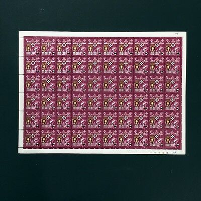 1977 Malta No 316 with 1c7 Overprint Sheet of 60 Stamps Unmounted Mint NH #550