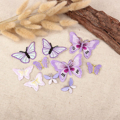 10 x Lilac Assorted Butterfly Fabric Motifs, Iron on Stick on Sew on Embroidery
