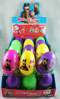 FULL BOX 24pcs Plastic MASHA & MEDVED Surprise Eggs with Toy & Candy Inside