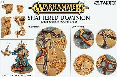 Shattered Dominion 40 und 65mm Round Bases (26 Bases) Games Workshop AoS 40k