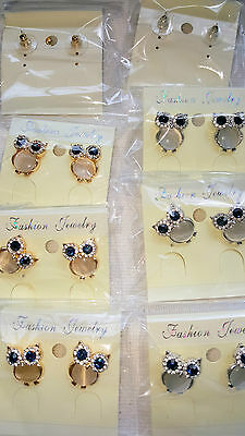Joblot of 12pairs Mixed colour  Owl Diamante stud Earrings - NEW Wholesale