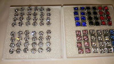 Joblot 48 pairs 6mm&6mm Hypoallergenic Diamante stud Earrings- NEW Wholesale 6