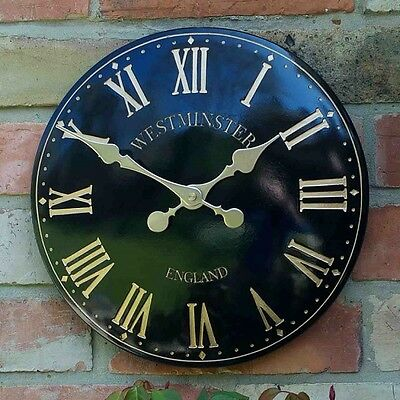 "Westminster Tower Outside In Garden Wall Clock 30cm / 12"" - Black Roman Numeral"