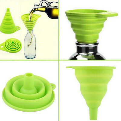 Kitchen Cooking Tools Silicone Gel Foldable Style Funnel Hopper Random Color