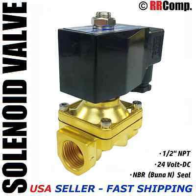 "1/2"" NPT 24-VOLT DC Brass Electric Solenoid Valve, Seal NBR: Air, Water, Oil N/C"