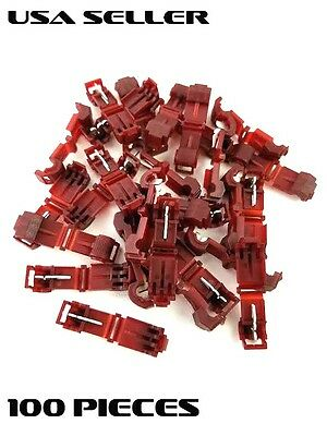 22-18 Gauge Red T-Tap 100 Pk Pcs Terminal Awg Ga Quick Wire Connector Car Marine
