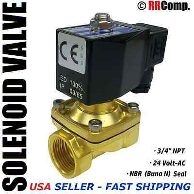 "3/4"" NPT 24-Volt AC Brass Electric Solenoid Valve, Seal NBR: Air, Water, Oil N/C"