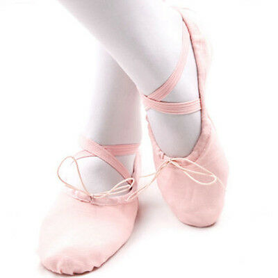 Girl Kid Adult Ballet Dance Shoes Fit Gymnastics Pointe Dance Shoes Canvas Pink