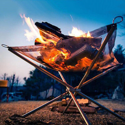 Outdoor Charcoal Rack Wood Fire Burn Frame Foldable Camping Barbecue BBQ Stove