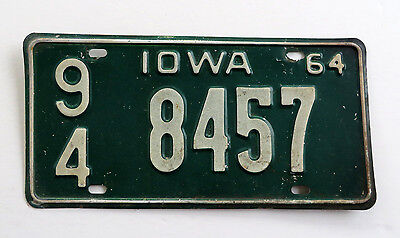 1964 Webster County Iowa License Plate 94-8457 Passenger Car Chevy Man Cave Ford