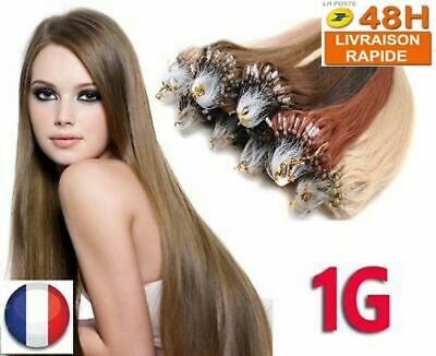 25-100 Extensions De Cheveux Pose A Froid Easy Loop Naturels Remy 0.5/1G 53-60Cm