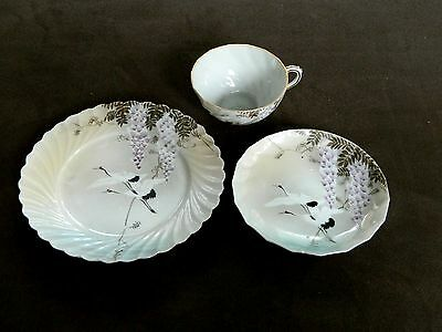 3 Pc Set Japanese HP Eggshell Porcelain Plate + Cup & Saucer Cranes & Wisteria