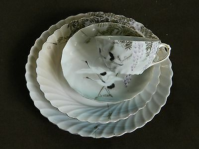 4 Pc Set Japanese HP Eggshell Porcelain Plates + Cup & Saucer Cranes & Wisteria