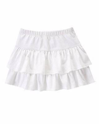 Gymboree NWT Girls Hop N Roll White Tiered Ruffle Skirt Size 4 5 6 & 8