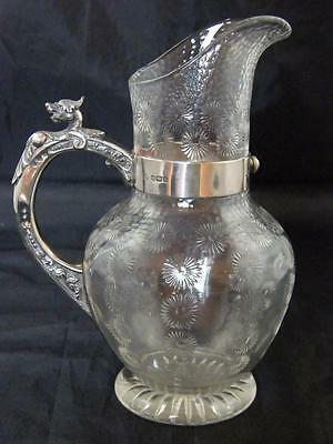 Stevens & Williams Star Cut & Faceted Glass Jug 1908 Hm Shefeild Silver Handle A