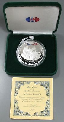 1990 Silver Dominican Republic Proof 100 Pesos 5 Oz Coin 1,000 Minted Box & Coa