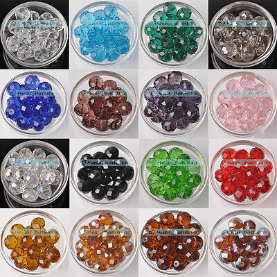 Wholesale 10/12/14/16/18mm Rondelle Faceted Crystal Glass Loose Spacer Beads DIY