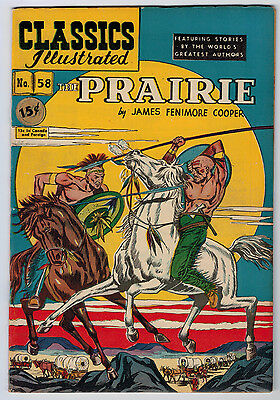 Classics Illustrated #58 7.0 The Prairie 1St Ow Pages Golden Age